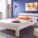 Massief beuken houten bed, white wash